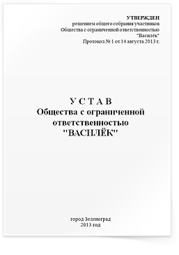Форма устава для регистрации ооо как подавать декларация 3 ндфл