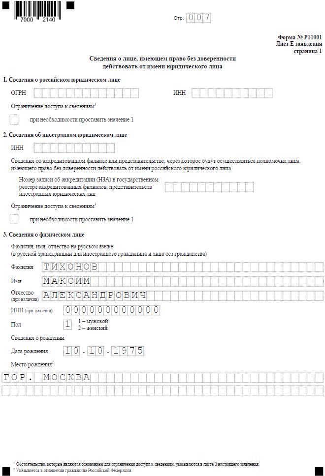 Р11001 с одним учредителем - физлицом, Лист Е, страница 1