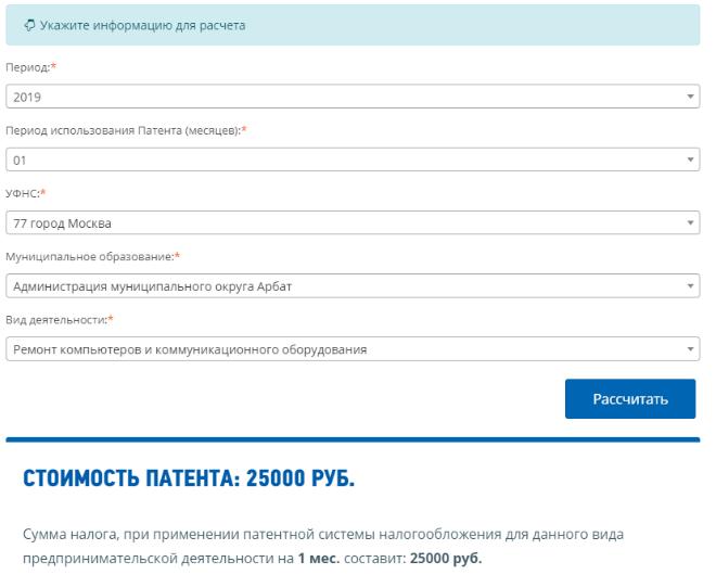 Расчет стоимости патента для ИП