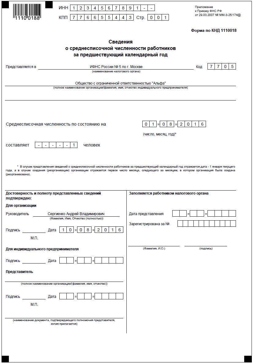 Сведения о среднесписочной численности после регистрации ип заявление для регистрации ип в пфр как работодателя образец
